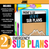 June Emergency Sub Plans for 2nd Grade: Activities & Ready-to-go Lessons