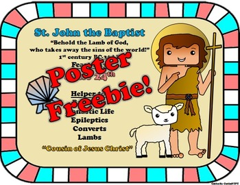 June Feast Day Catholic Saint Poster - Saint John the Baptist