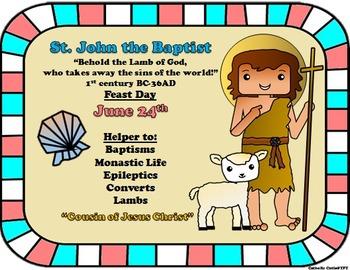June Feast Day Catholic Saint Poster - Saint John the Baptist