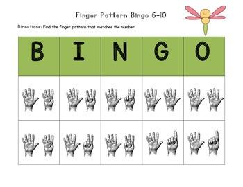 June Finger Pattern Bingo (Differentiated 1-5, 6-10, & 1-10)