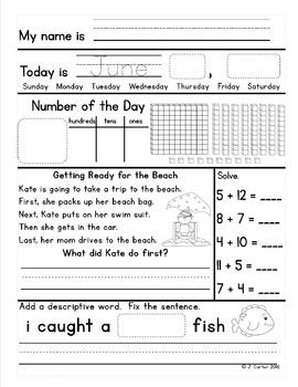 June First Grade Morning Work