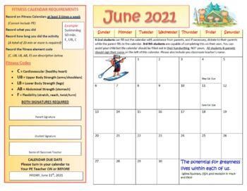 June Fitness Calendar 2017