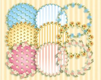 June Flowers Alphabet - Patterns - Circle Frames 300 DPI and Vector PDF