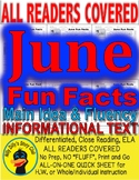 """""""June FUN FACTS"""" Differentiated Curriculum: Close Reading Info Text 5 Levels"""