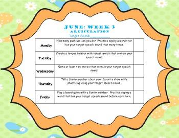 June Home Program (Articulation)
