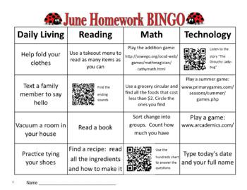 June Homework BINGO with QR Codes