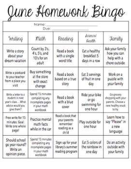 June Homework Bingo! [Editable]