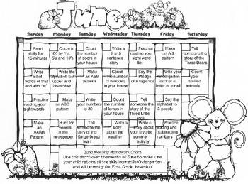 June Homework Calendar