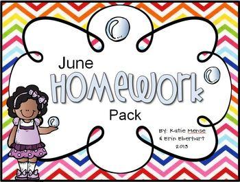 June Homework Pack for Kindergarten