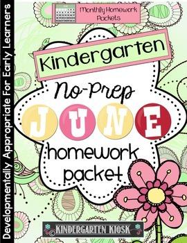 June Homework Packet:Kindergarten