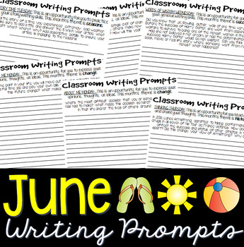 Writing Prompts JUNE (Bell Ringer, Morning Work, Daily Writing)