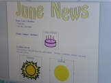 June Interactive Newsletter with Boardmaker Symbols and Si