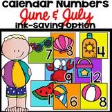 June July Calendar Numbers