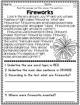 June July NonFiction Reading Comprehension Passages for 2nd & 3rd Summer