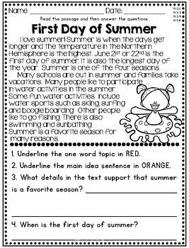 Summer Reading Comprehension - Nonfiction Passages