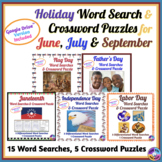 June, July & September Holidays: Word Search & Crossword Puzzles BUNDLE
