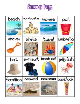 June July Summer Themed Vocabulary Word Chart Writing Station {FREEBIE}