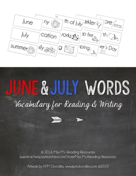 June & July Word Cards {June & July Vocabulary}
