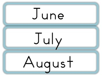 June, July and August Word Wall