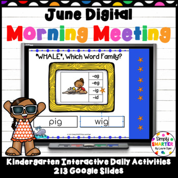 June Kindergarten Digital Morning Meeting For GOOGLE SLIDES