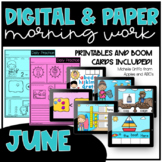 June Kindergarten Morning Work and Boom Card Bundle