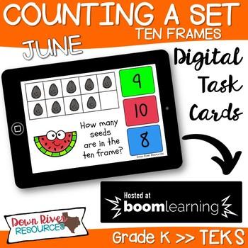 June Math Boom Cards | Ten Frames Kindergarten TEKS