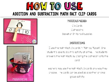 June Math Fact Clip Cards: Addition and Subtraction Facts to 10