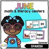 June Math & Literacy Centers in Spanish - Summer