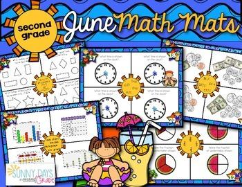 June Math Mats {second grade}