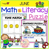 June Math and Literacy Puzzles