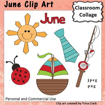 June Month Calendar Clip Art - Color - personal & commercial use