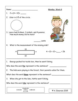 June Morning Work Third Grade Common Core Standards