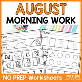 August Morning Work for Kindergarten