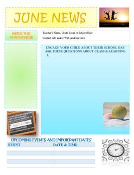 June Newsletter Editable Template