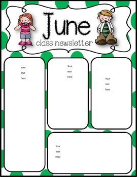 June Newsletters freebie