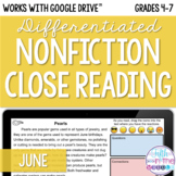 June Nonfiction Close Reading Comprehension - Online/Dista