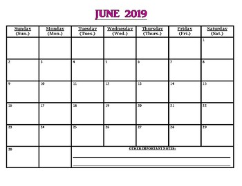 "June PDF 2019 calendars WITH LINES, WITHOUT LINES & ""extra notes"" pgs! (3 pgs)"