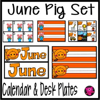 June Illustrated Pig Calendar Set and Desk Plates