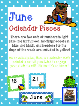 June Polka Dot Calendar Set