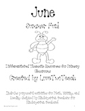 June:  Purposeful activites for Math. Writing, and Reading for Kinderg