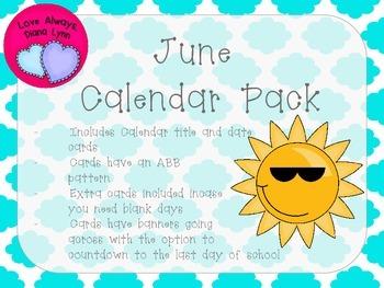 June Quatrefoil Calendar Set