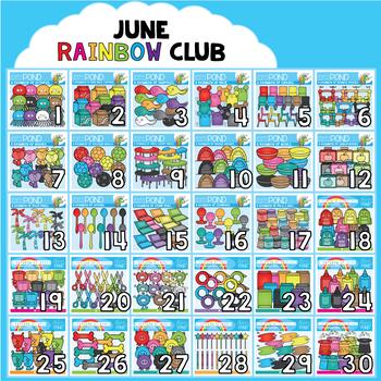 June Rainbow Club Clipart Bundle