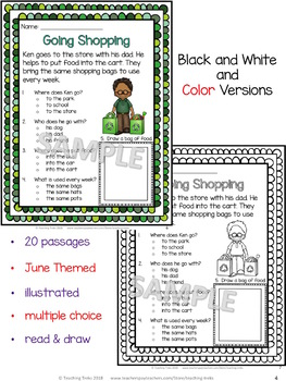 June Reading Comprehension Passages and Questions