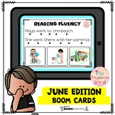 June Reading Fluency Digital Task Cards (Boom Cards™)