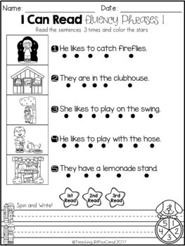 June Reading Fluency Phrases