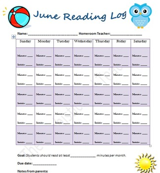 June Reading Log