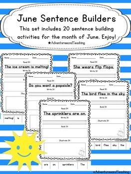 June Sentence Builders {morning work, word work, daily 5, & centers}