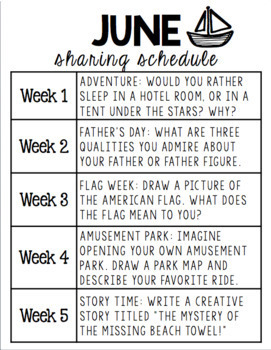 June Sharing Prompts for Class Share Time