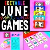 June Sight Word Games - Editable