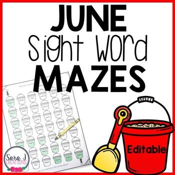 June Summer Sight Word Mazes
